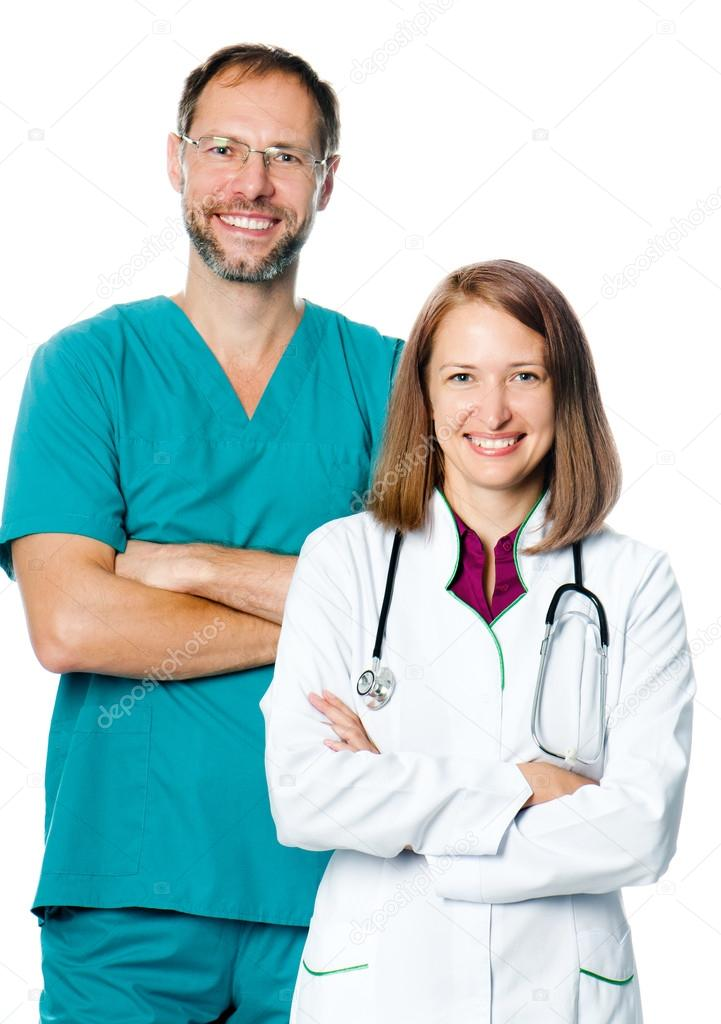 Smiling doctors isolated on white — Stock Photo #13138235