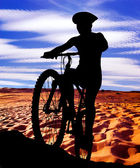 Silhouette of a cyclist — Stock Photo