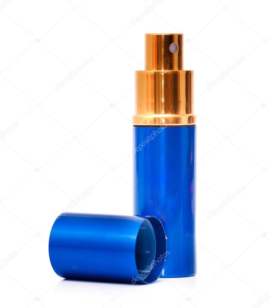 Blue  empty glass perfume bottle isolated on a  white backgroung — Stock Photo #13435397