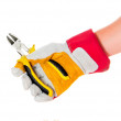 Gloved hand with cutters — Stock Photo