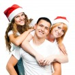 Teenagers  in Santa hat — Stok fotoğraf