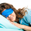 Stock Photo: Sleeping Young WomIn Sleep Eye Mask