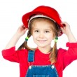 Little girl in the construction helmet - Foto Stock
