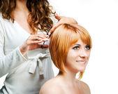 парикмахерская на работе, изолированные — Стоковое фото