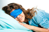 Sleeping Young Woman In Sleep Eye Mask — Stock Photo
