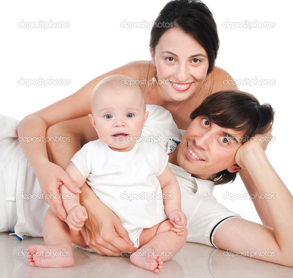 Portrait of a happy family smiling on a white background — Photo #14460037