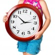 Girl with clock — Lizenzfreies Foto