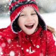 Foto Stock: Little girl and snowman