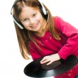 Portrait of girl in headset. - Stock Photo