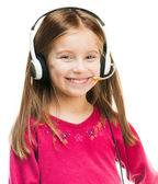 Porträt des Mädchens im headset. — Stockfoto