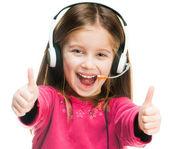 Retrato de menina no fone de ouvido. — Foto Stock