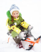 Girl sledding — Stock Photo