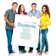 Group with banner - Stock Photo