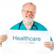 Doctor with poster — Stock Photo