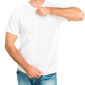 White t shirt on a young man — Stock Photo