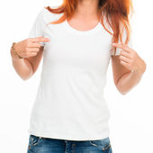 Fille en t-shirt blanc — Photo