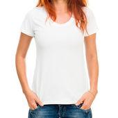 Dziewczyna w biały t-shirt — Zdjęcie stockowe