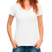 Flicka i vit t-shirt — Stockfoto