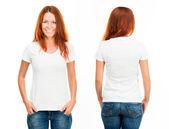девушка в белой футболке — Стоковое фото