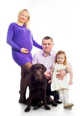 Family with retriver — Stock Photo