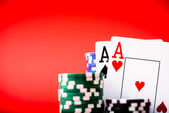 Chips and two aces — Stock Photo