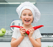 Little girl in with Pepper — Stock Photo