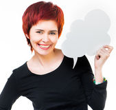 Girl with the cloud conversation — Stock Photo