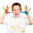 Boy shows his hands painted with paint — Stock Photo #24659419