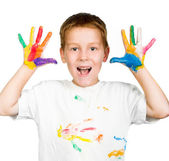 Boy shows his hands painted with paint — Stock Photo