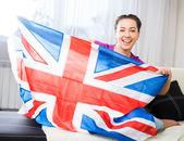 Girl with british flag — Stock Photo