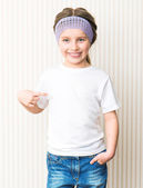 Ittle girl in white t-shirt — Stock Photo