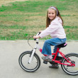 Little girl with her bicycle — Stockfoto