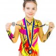 Little girl gymnast — Stock Photo