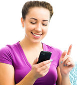 Attractive girl with mobile phone — Stock Photo