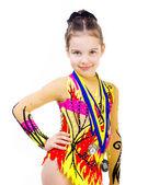 Little girl gymnast — Stock Photo