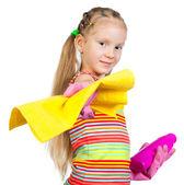 Cute dziewczynka z detergentów — Zdjęcie stockowe