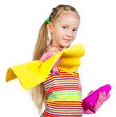 Cute little girl with detergents — Stock Photo