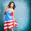Fashion girls with usa flag — Photo
