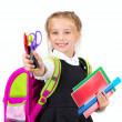 Little cute girl with a stationery — Stock fotografie