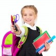 Little cute girl with a stationery — Foto Stock