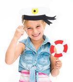 Girl in sailor hat — Stock Photo