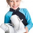 Little girl with skates — Stok fotoğraf