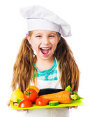 Little girl with vegetables — Stock Photo