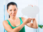 Girl with white cloud — Stockfoto