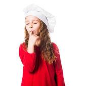 Girl in chef hat — Stock Photo