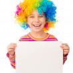 Little girl in clown wig — Stock Photo #37787251