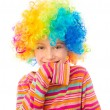 Little girl in clown wig — Stock Photo