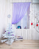Interior with white Christmas tree — Stock Photo