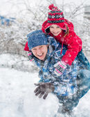 Family molded snow ball — Stock Photo