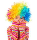 Little girl in clown wig — Stock Photo